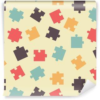 Vinyl Behang Naadloze patroon stukjes van de puzzel, vector