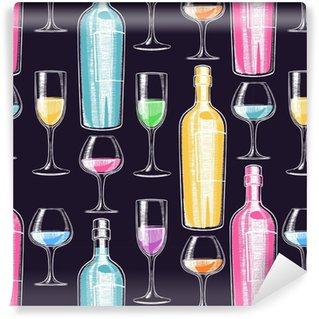 Vinyl Behang Naadloze wijnflessen en glazen