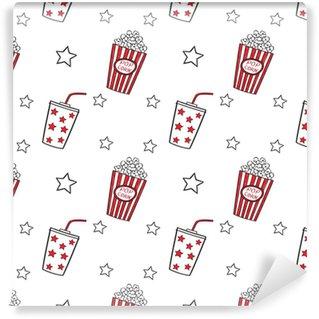 Vinyl Behang Popcorn en drink doodle vector, naadloos.