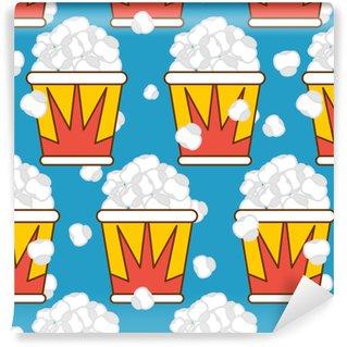 Vinyl Behang Popcorn naadloos patroon. voedsel achtergrond. voeder textuur