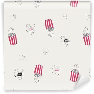 Vinyl Behang Popcorn naadloze vector patroon