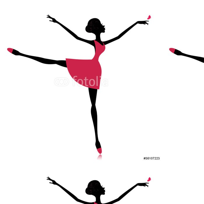 Vinyl Behang Sierlijke danser met een vlinder - Individuele sport