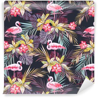 Vinyl Behang Tropische zomer naadloze patroon met flamingo vogels en exotische planten