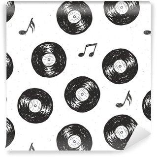 Vinyl Behang Vinyl record vintage naadloze patroon hand getrokken label schets, grunge geweven retro badge, typografie ontwerp t-shirt afdrukken, vector illustratie