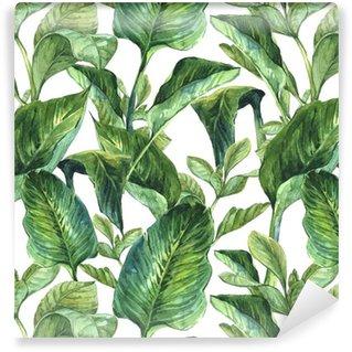 Vinyl Behang Watercolor Naadloze Achtergrond met Tropische Bladeren