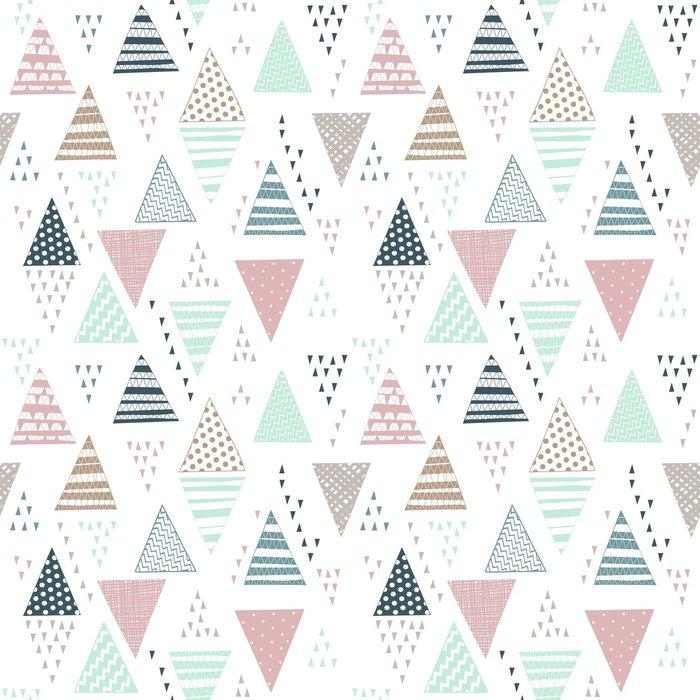 Tapeta Pixerstick Bezešvé vzor s ozdobnými ručně kreslených trojúhelníků. - Grafika