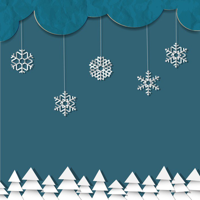Blue background with paper snowflakes and Christmas trees