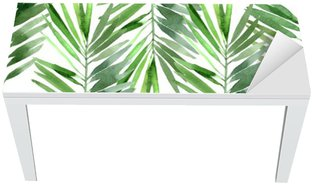 Bureau- en Tafelsticker Aquarel palmblad naadloos