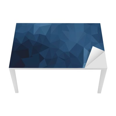 Bureau- en Tafelsticker Blauw geometrisch patroon, driehoeken achtergrond