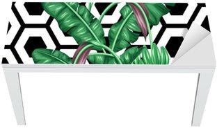 Bureau- en Tafelsticker Naadloos patroon met bananenbladeren. Decoratief beeld van tropische bladeren, bloemen en vruchten. Achtergrond gemaakt zonder knippen masker. Makkelijk te gebruiken voor de achtergrond, textiel, inpakpapier
