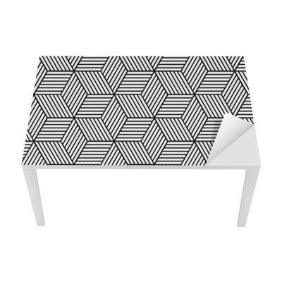 Bureau- en Tafelsticker Naadloze geometrische patroon met blokjes.