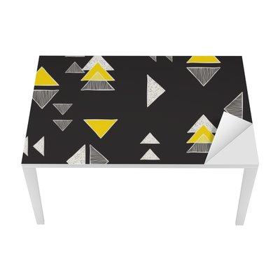 Bureau- en Tafelsticker Naadloze hand getekende driehoeken patroon.