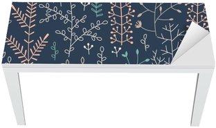 Bureau- en Tafelsticker Naadloze patroon met minimalistische bloemenornament