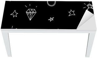 Bureau- en Tafelsticker Vector naadloze patroon met trouwringen, sterren en juwelen. Old school tattoo elementen. hipster stijl