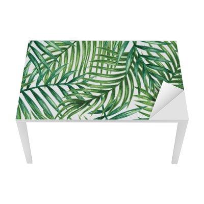 Bureau- en Tafelsticker Watercolor tropical palm leaves seamless pattern. Vector illustration.