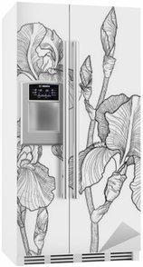 Buzdolabı Çıkartması Çiçeklenme süsen buketi kroki