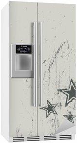 Buzdolabı Çıkartması Çizik bej doku üzerinde yıldız. Vektör