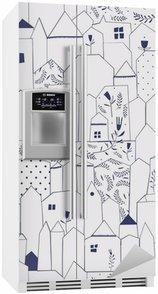 Buzdolabı Çıkartması Dikişsiz desen. bağbozumu tarzı Şekil şehirler.