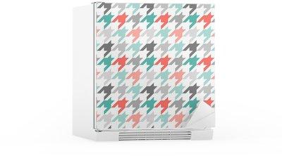 Buzdolabı Çıkartması Dikişsiz desen Houndstooth, renkli
