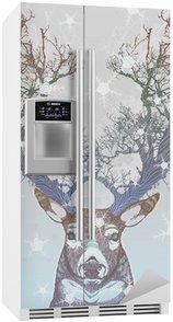Buzdolabı Çıkartması Dondurulmuş ağaç boynuz geyik