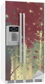 Buzdolabı Çıkartması Düşen yaprakları ile güzel ormanda duran adam, illüstrasyon boyama