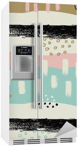 Buzdolabı Çıkartması El pastel renklerde fırça darbeleri ile sorunsuz desen çizilmiş.