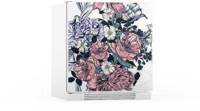 Buzdolabı Çıkartması Elle çizilmiş gül ve gelişiyor güzel sorunsuz desen