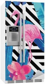 Buzdolabı Çıkartması Flamingo ve orkide desen, geometrik arka plan