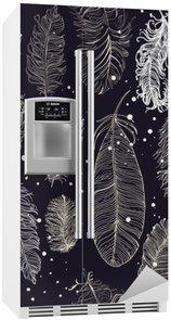 Buzdolabı Çıkartması Güzel tüyleri ile sorunsuz desen