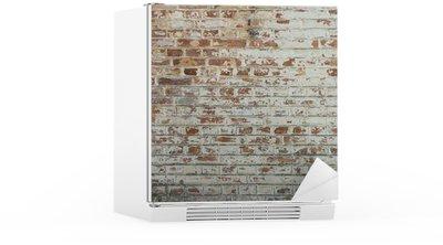 Buzdolabı Çıkartması Soyulması sıva ile eski vintage kirli tuğla duvarın arka plan