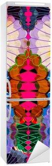 Buzdolabı Çıkartması Suluboya çok renkli soyut unsurlar