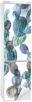 Buzdolabı Çıkartması Suluboya tarzında Kaktüs desen.