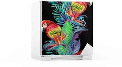 Buzdolabı Çıkartması Tropik çiçekler seamless pattern ile suluboya papağan