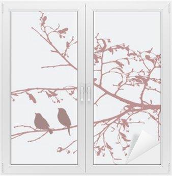Cam ve Pencere Çıkartması Baharda kuşlar