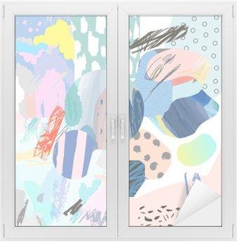 Cam ve Pencere Çıkartması Farklı doku ve şekillerle Trendy yaratıcı kolaj. Modern grafik tasarım. Olağandışı sanat. Vektör. yalıtılmış