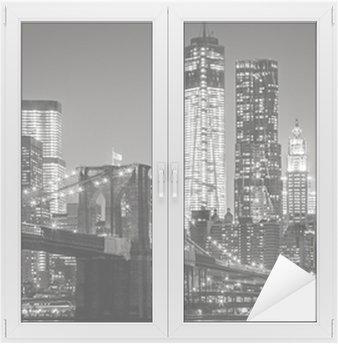 Cam ve Pencere Çıkartması Gece New York. Brooklyn Köprüsü, Aşağı Manhattan - Siyah bir