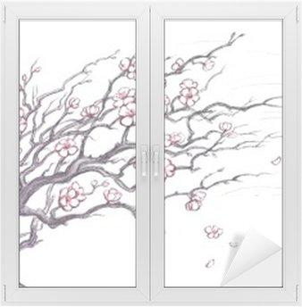 Cam ve Pencere Çıkartması Japon kiraz ağacı