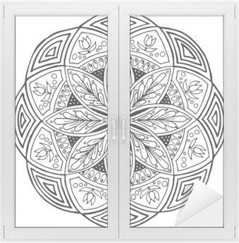 Cam ve Pencere Çıkartması Mandala, yuvarlak çiçek süsleme El çizimi. bez için boyama kitabı veya baskı için Desen. Vektör stok illüstrasyon.
