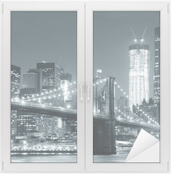 Cam ve Pencere Çıkartması New York Brooklyn Köprüsü