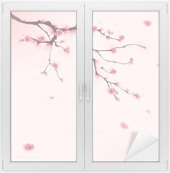 Cam ve Pencere Çıkartması Oryantal tarzı boyama, ilkbaharda kiraz çiçeği