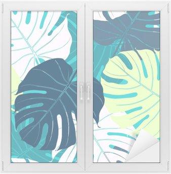 Cam ve Pencere Çıkartması Palmiye yaprakları ile Seamless pattern