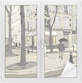 Cam ve Pencere Çıkartması Paris'te Furstemberg kare