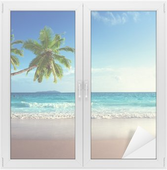 Cam ve Pencere Çıkartması Seyşeller sahilde gün batımı