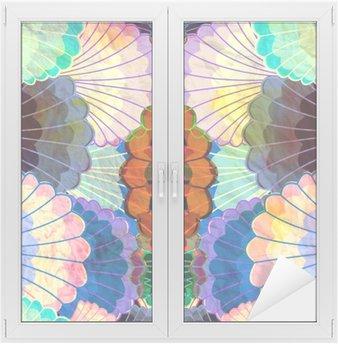 Cam ve Pencere Çıkartması Suluboya çok renkli soyut unsurlar