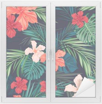 Cam ve Pencere Çıkartması Yaprakları ile parlak renkli tropikal kesintisiz arka plan ve