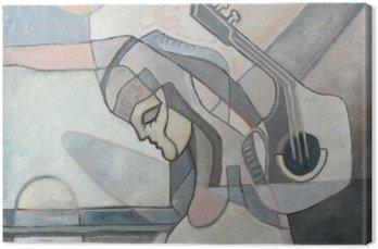 Canvas Abstract schilderij met Vrouw en Gitaar