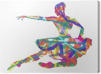 Canvas Abstract silhouet van een danser die bestaat uit kleuren