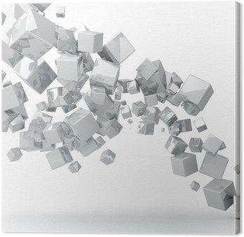 Canvas Abstracte 3D glanzende witte kubussen achtergrond.