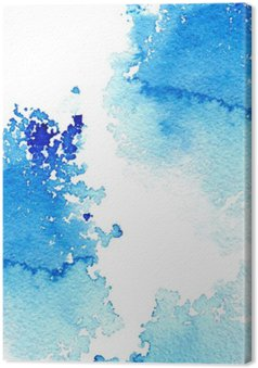 Canvas Abstracte donker blauwe waterige frame.Aquatic backdrop.Ink drawing.Watercolor handgetekende image.Wet splash.White achtergrond.