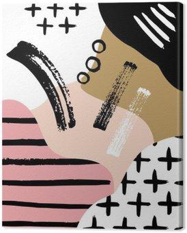 Canvas Abstracte Scandinavische compositie in zwart, wit en pastel roze.